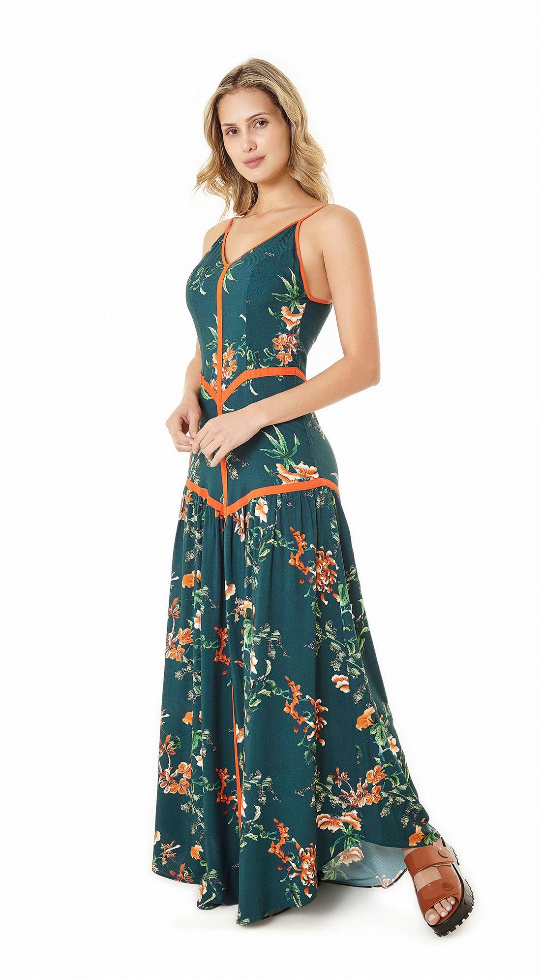 67e967631a Vestido Longo Estampado Com Detalhe Vies Verde - Zinco