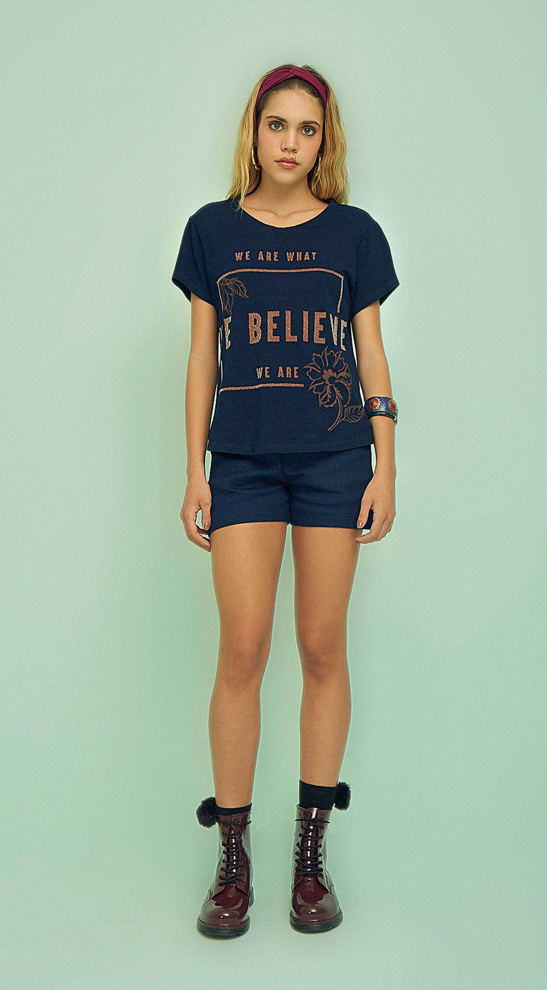 f2e33c7cf2 T-Shirt Malha Denim Com Estampa Azul Marinho - Zinco