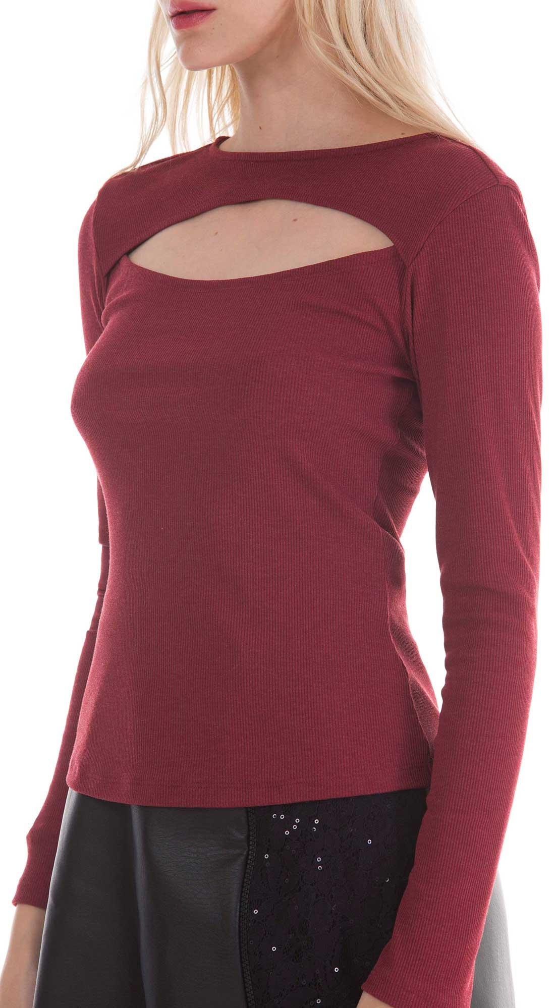 772a5606de Blusa Decote Redondo Manga Longa Abertura Frente Vermelho - Zinco