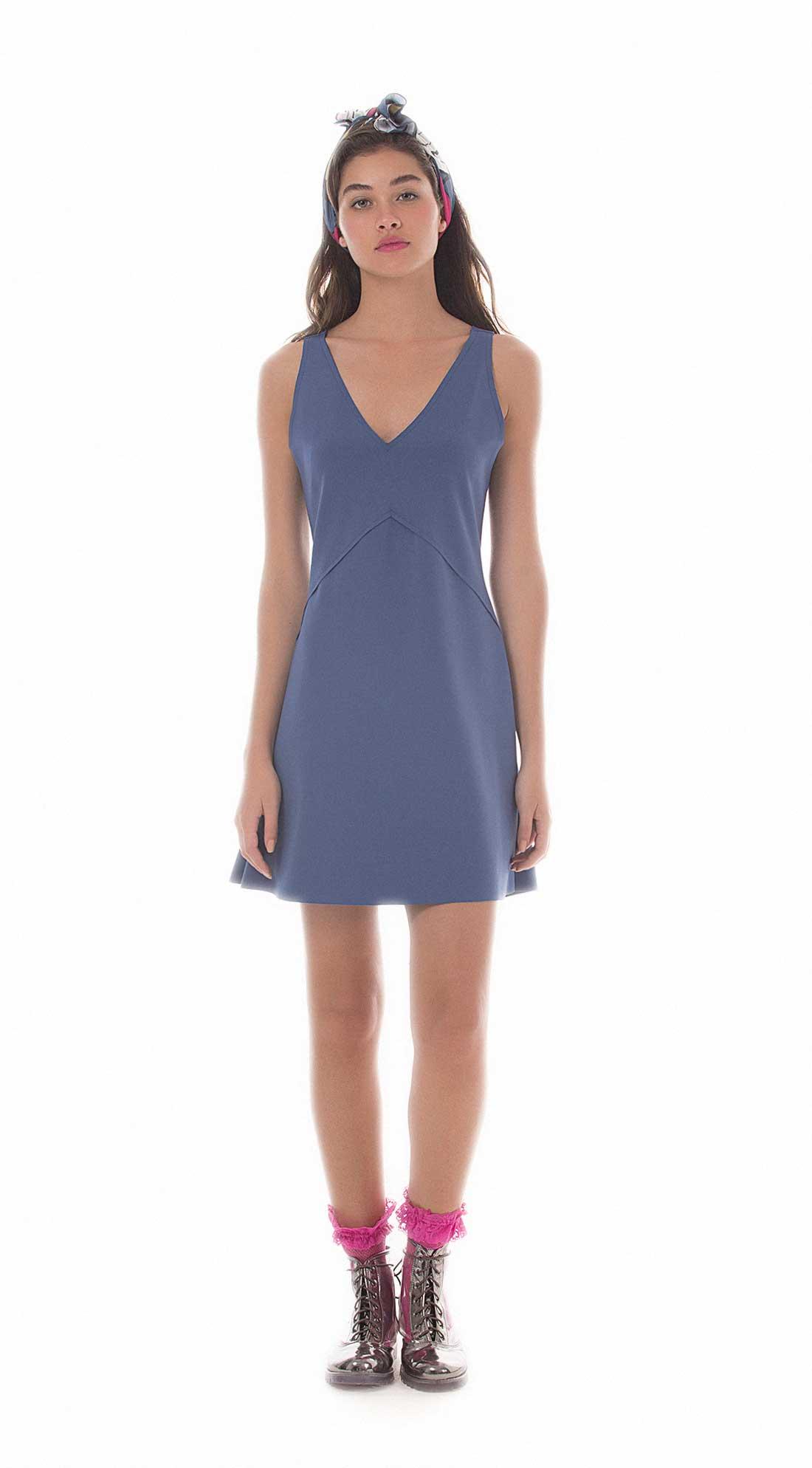 ab6aaa9aa Vestido Curto Decote V Abertura Costas Azul - Zinco