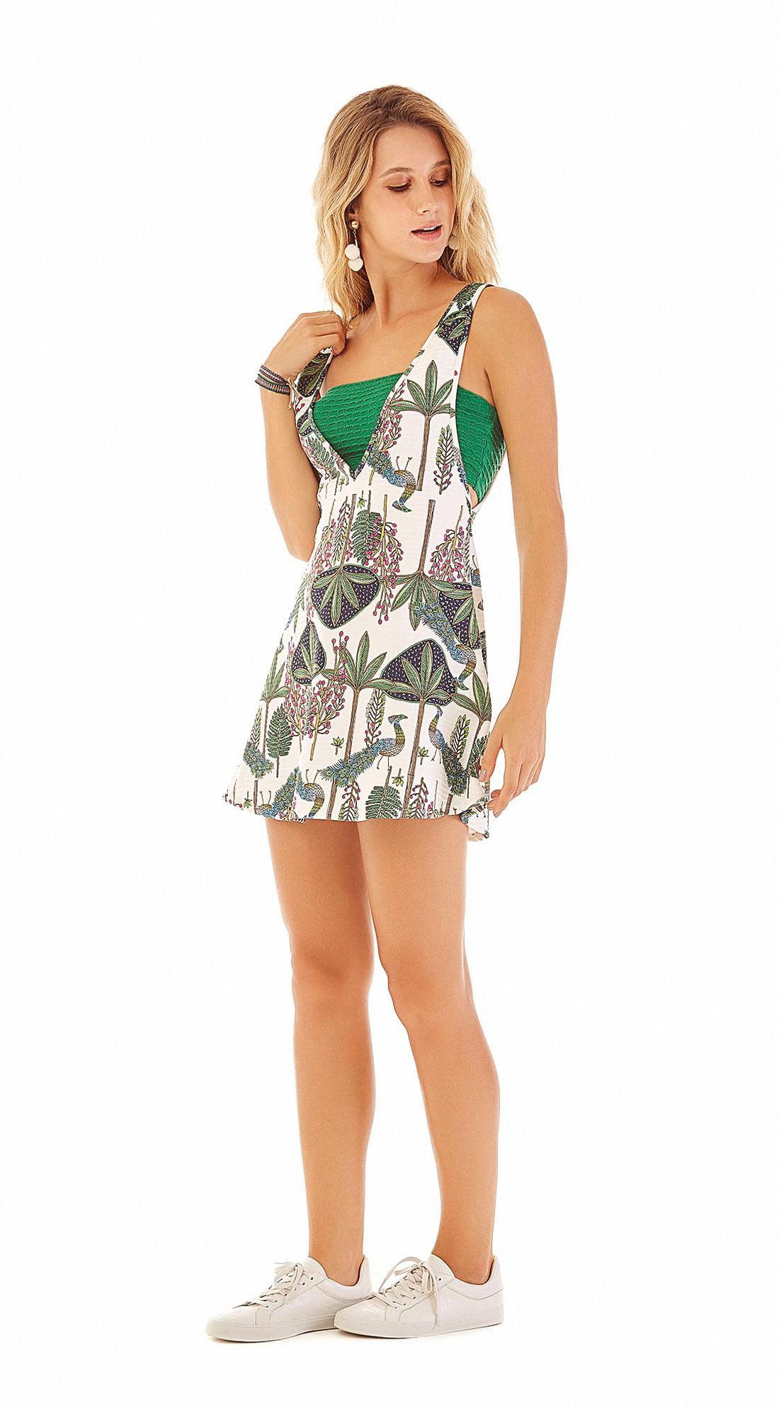 31bb6707ee Vestido Curto Decote V Com Top Verde - Zinco