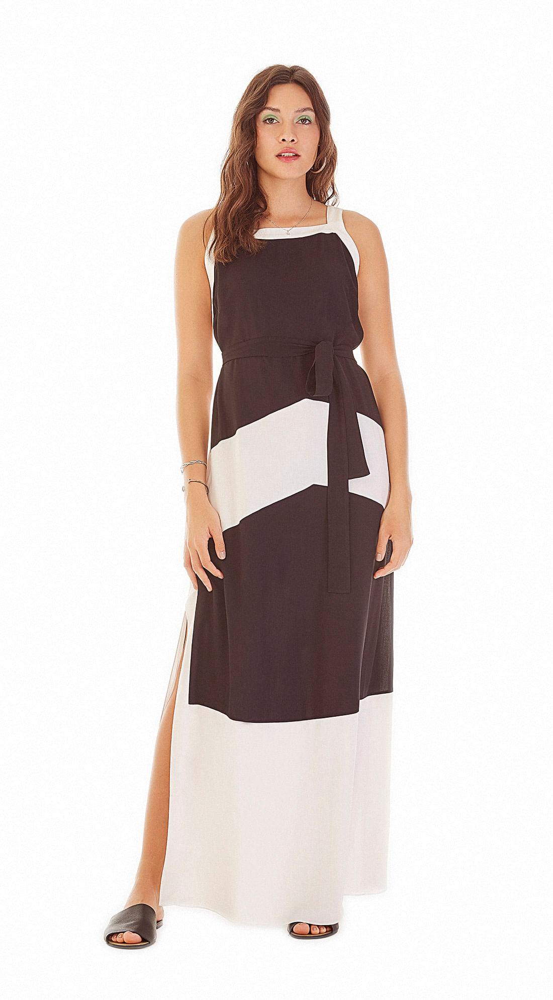 f130b2774 Vestido Longo Decote Quadrado Compose De Tecidos Preto - Zinco