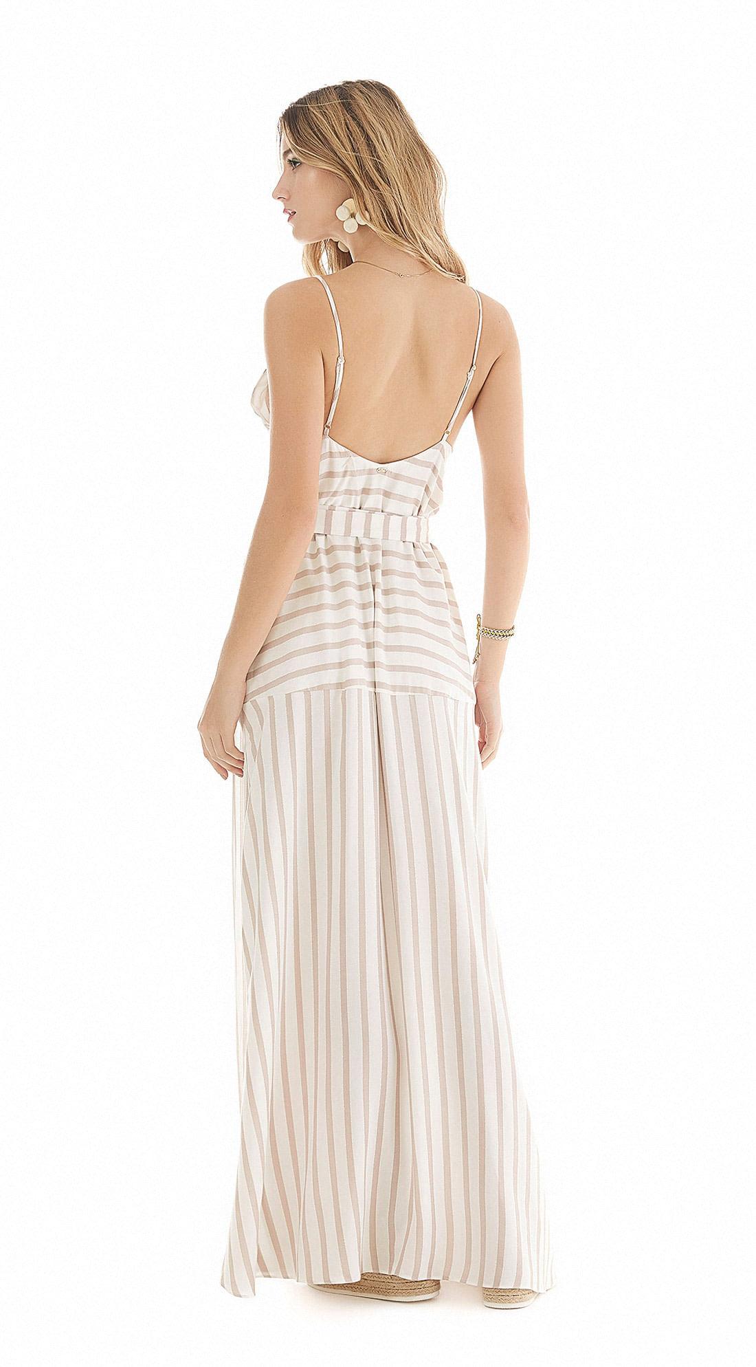 472259464695 Vestido Longo Decote V Transpasse Frente Nude - Zinco