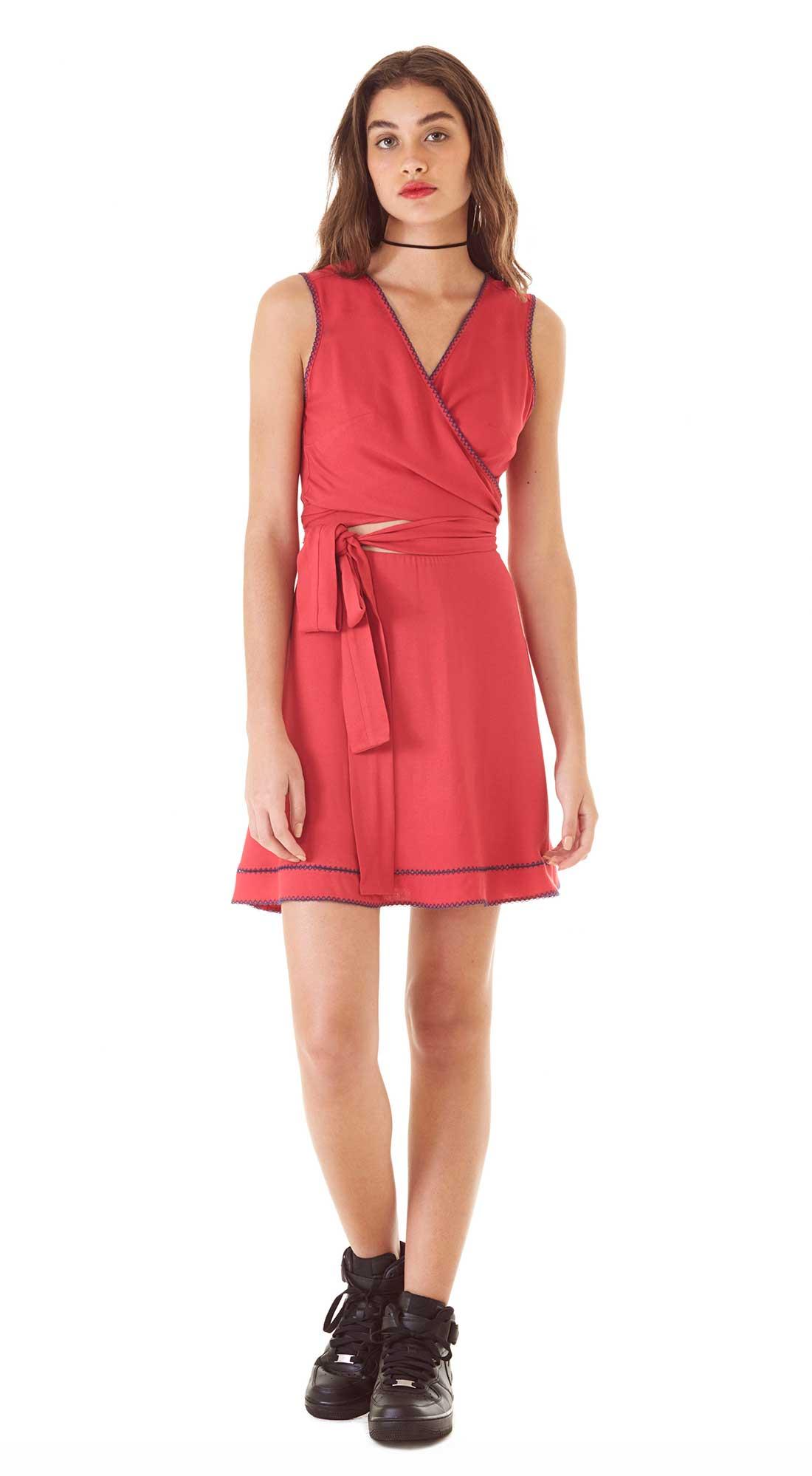 7363fc9f1c Vestido Curto Decote V Costura Marcada Vermelho - Zinco