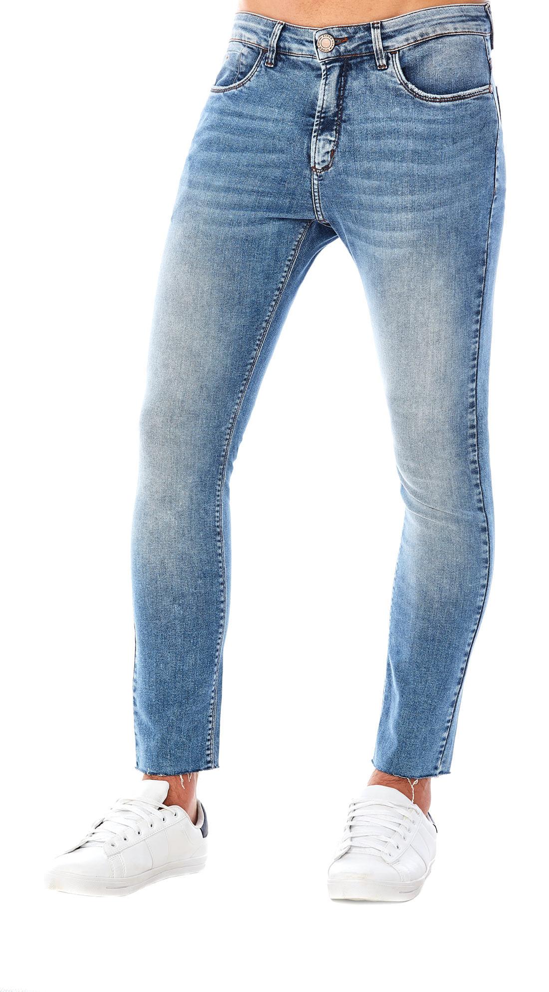 Calça Zinco Slim Cós Intermediário Bolso Relogio Jeans